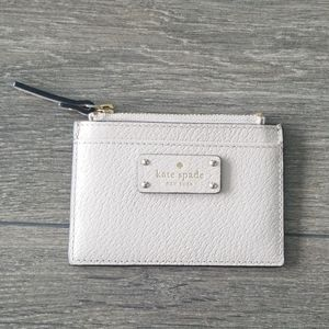 Kate Spade card and change holder cream colour